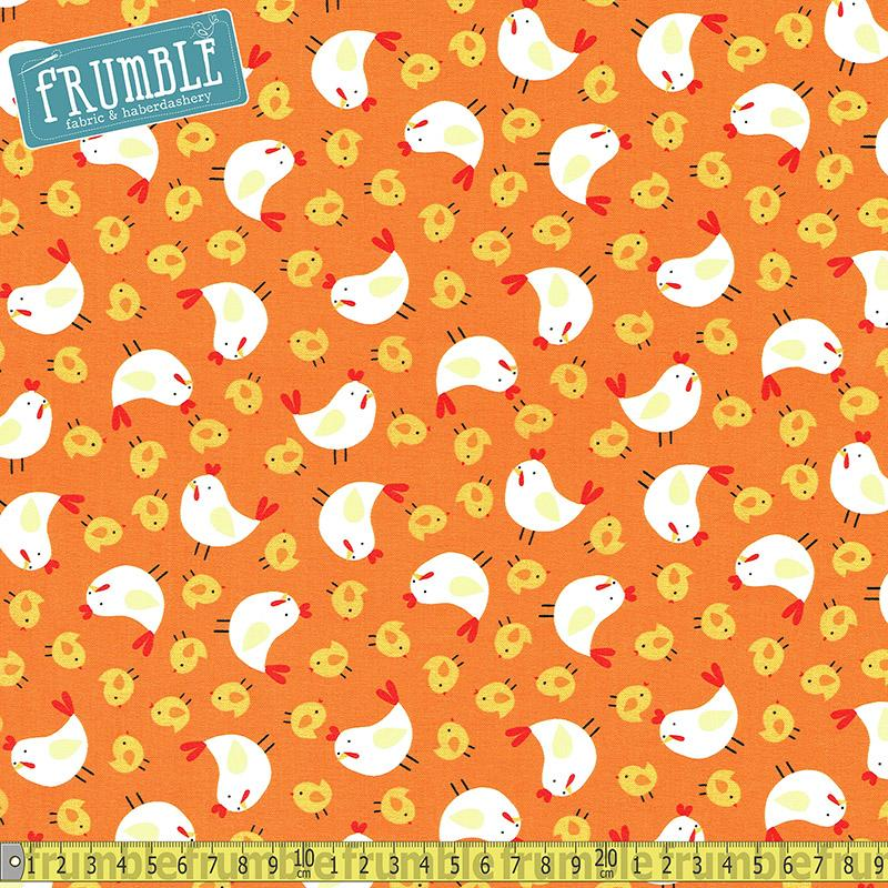 Farm Animals Chickens on Orange Fabric by Timeless Treasures