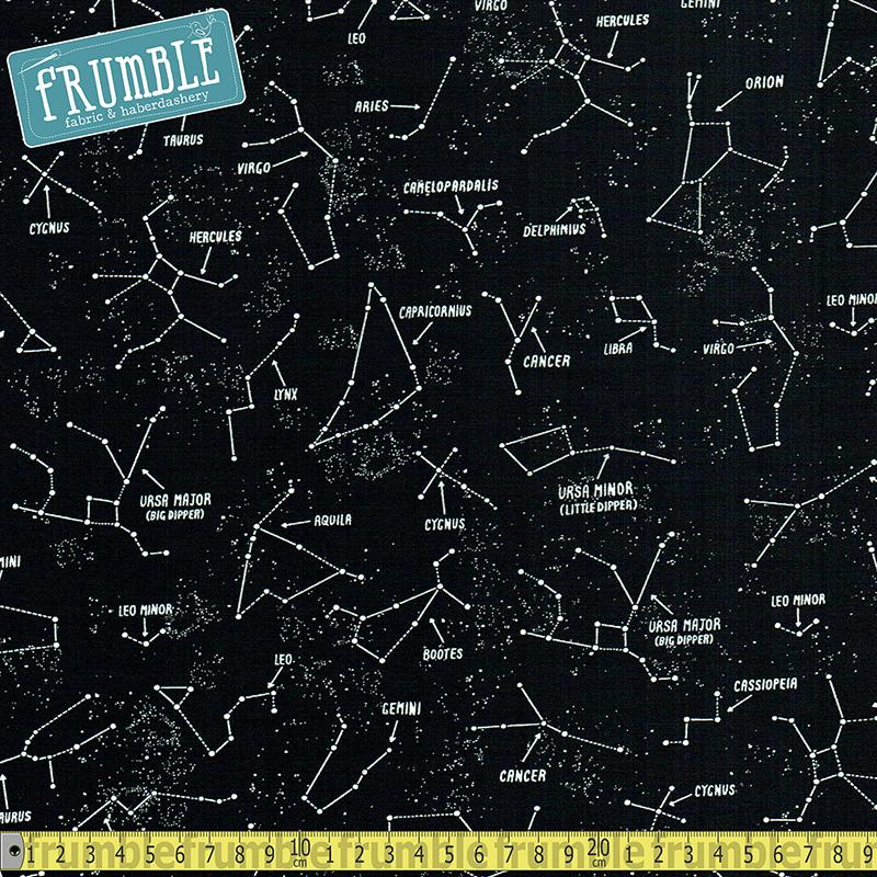 Glow in The Dark Constellations And Names Black Fabric by Timeless Treasures