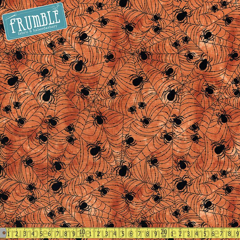 Wicked Spider Web Orange Fabric by Timeless Treasures