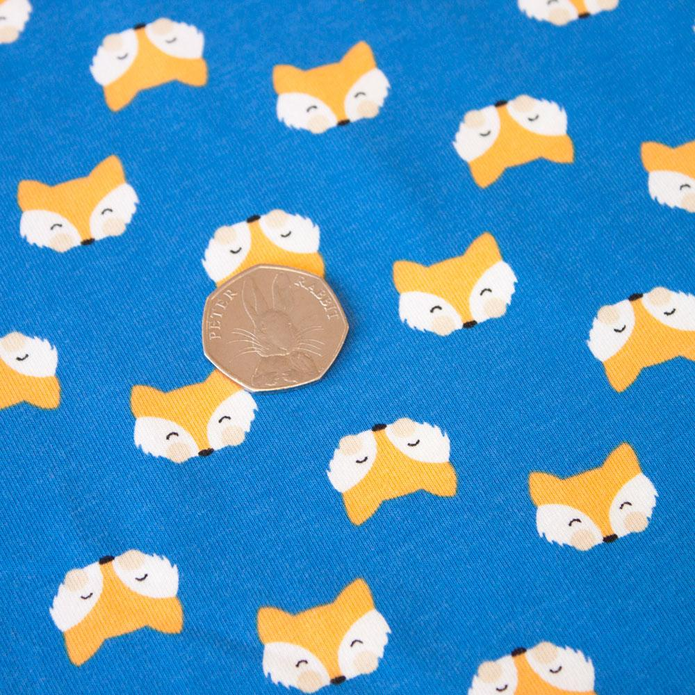 Fox Heads Jersey in Blue Fabric by Various