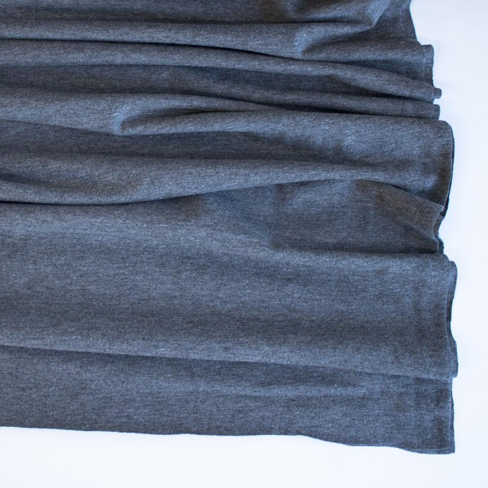 Dark Grey Premium Plain Cotton/Spandex Jersey Fabric by Various