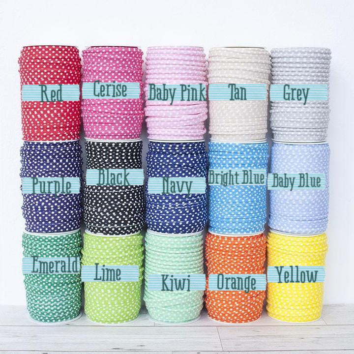 Medium Polka Dot Piping Bias Binding All with names