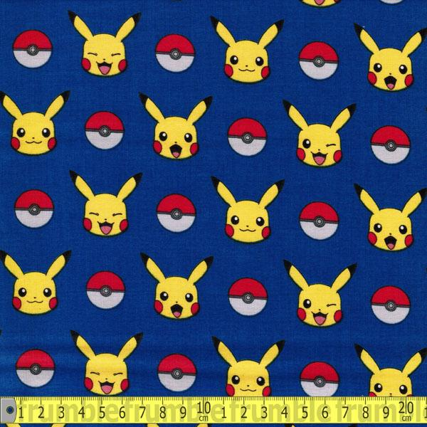 Pokemon Pikachu & Poke Ball Royal Fabric by Robert Kaufman