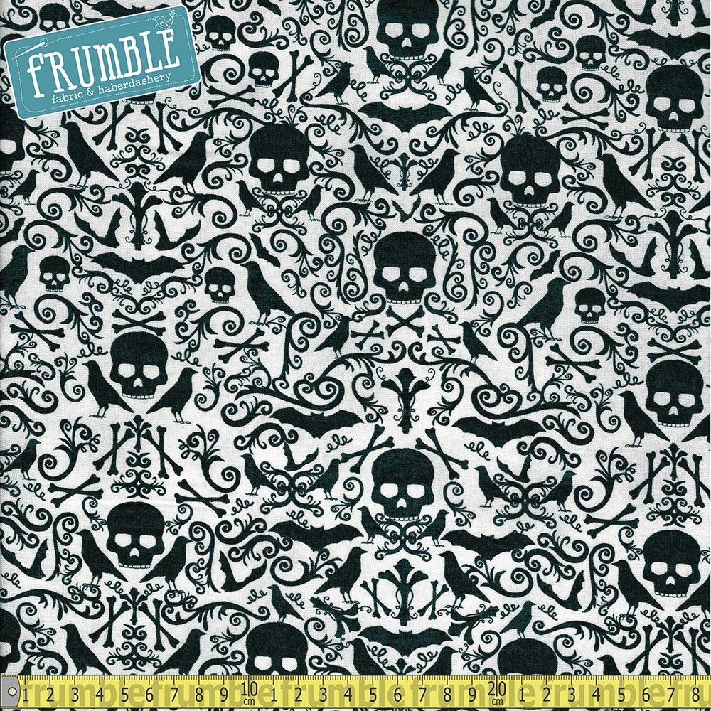 Skulls and Crossbones Grey Fabric by Timeless Treasures
