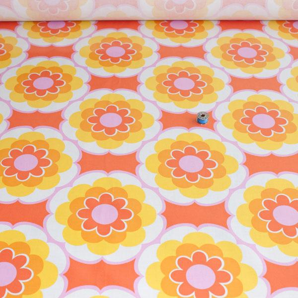 Laminated Fabric - Timeless Treasures Sunny Daze Orange WIDE Fabric by Various