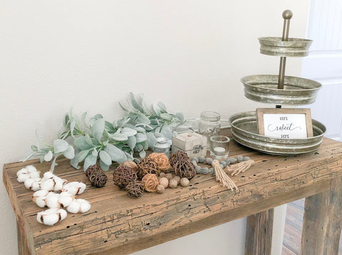 Neutral Tiered Tray Styling, Farmhouse Tiered Tray, Neutral Decor, Neutral Farmhouse, DIY, How to