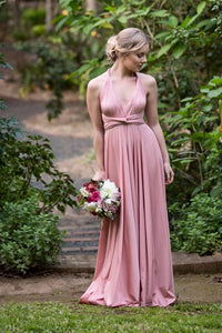 On Sale Antique Rose Dusty Pink Wedding Bridesmaid Formal Convertible Wrap Multi-way Maxi Dress Lucy and Loo Style and Scents
