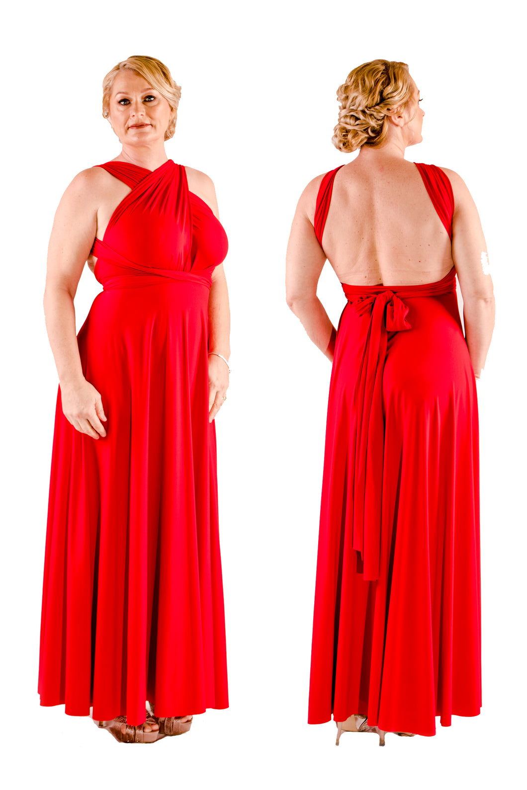 On Sale Rose Red Wedding Bridesmaid Formal Convertible Wrap Multi-way Maxi Dress Lucy and Loo Style and Scents