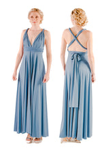 Load image into Gallery viewer, On Sale Storm Grey Wedding Bridesmaid Formal Convertible Wrap Multi-way Maxi Dress Lucy and Loo Style and Scents