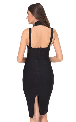 Black Criss Cross Halter Bandage Dress