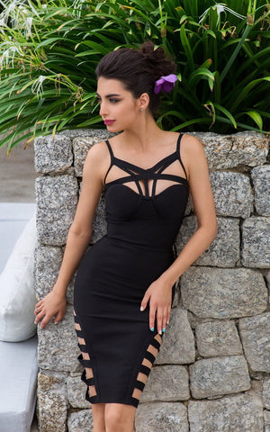 Miranda Strappy Front Cage Bandage Dress