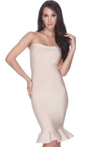 Beige Mermaid Bandage Strapless Sheath Dress
