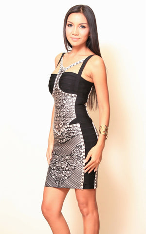 Print Black Rayon Bandage Dress