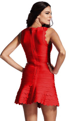 Red Sweety Flared Bandage Dress
