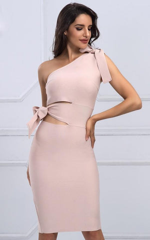 Sophia Nude One Shoulder Bandage Dress