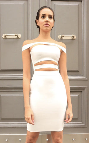 Strapped Off Shoulder Cut Out Bandage Dress
