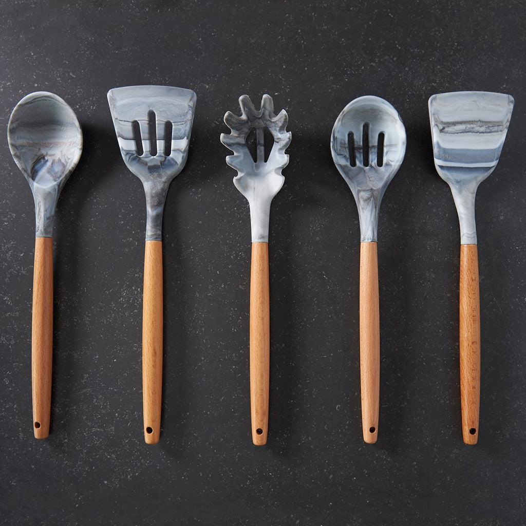 Marbled Silicone and Timber Utensil Set