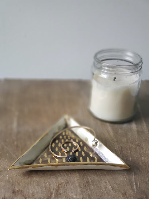 porcelain olive and gold triangle tray/ring dish