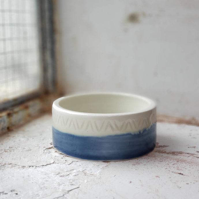 porcelain white and blue ring dish