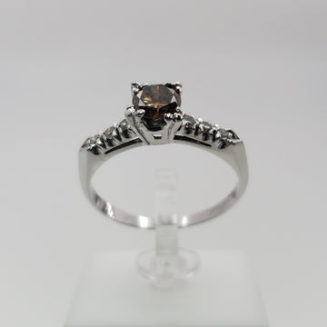 Platinum Ring with Chocolate Diamond Solitaire with Pave Diamonds on the band.