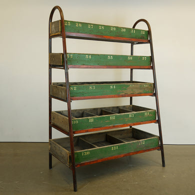 Large Victorian Metal Frame Industrial Shelving Unit/Shelf/Pigeon Hole - 5 Shelf
