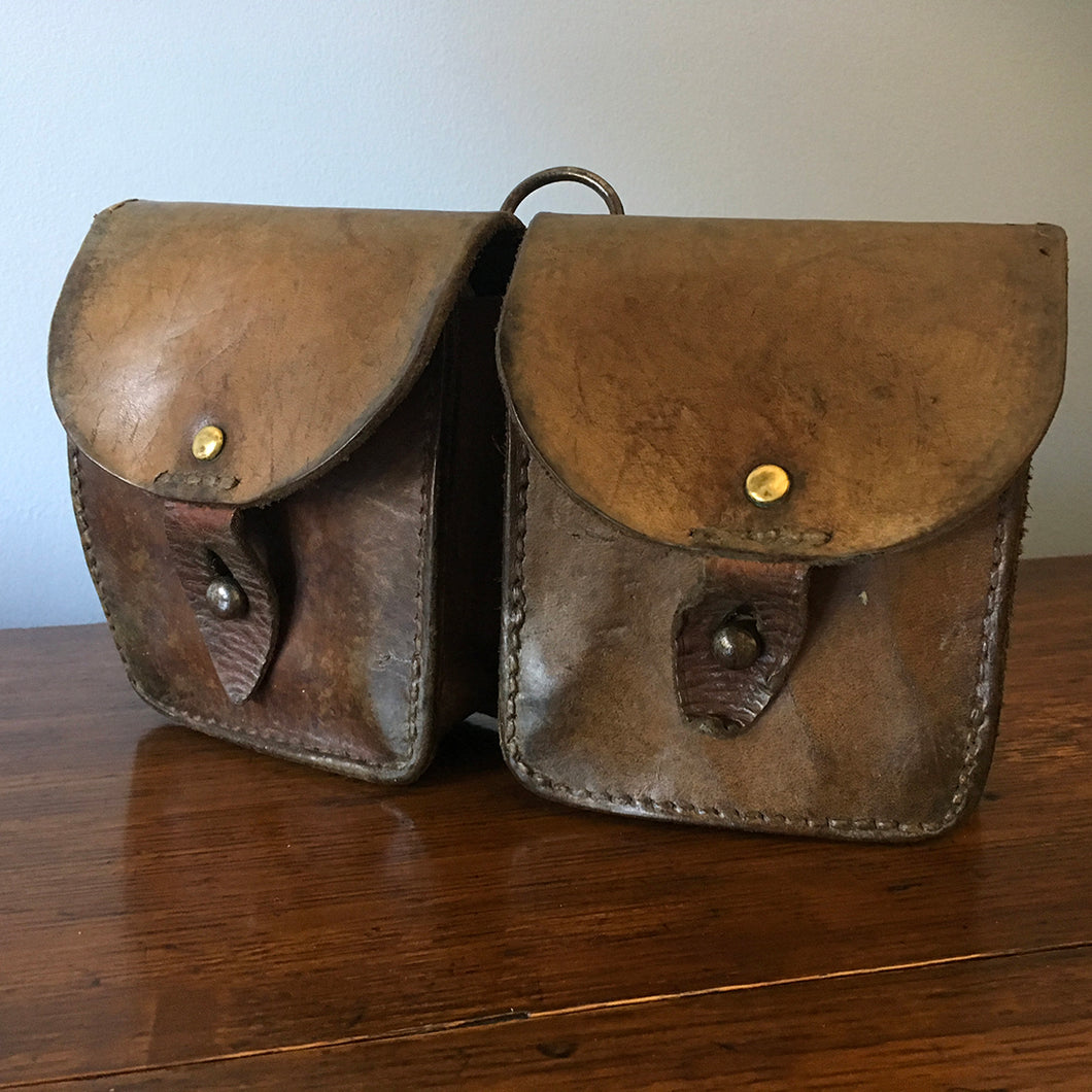 Vintage French Leather Double Belt Pouch