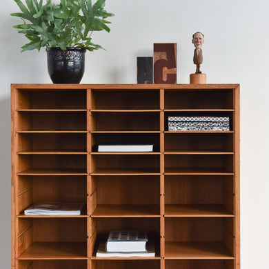 Vintage Wooden Danish Pigeon Hole Shelves / Stationery Cabinet by Vamo Sonderborg