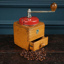 Load image into Gallery viewer, Red Metal & Wood Coffee Moulin