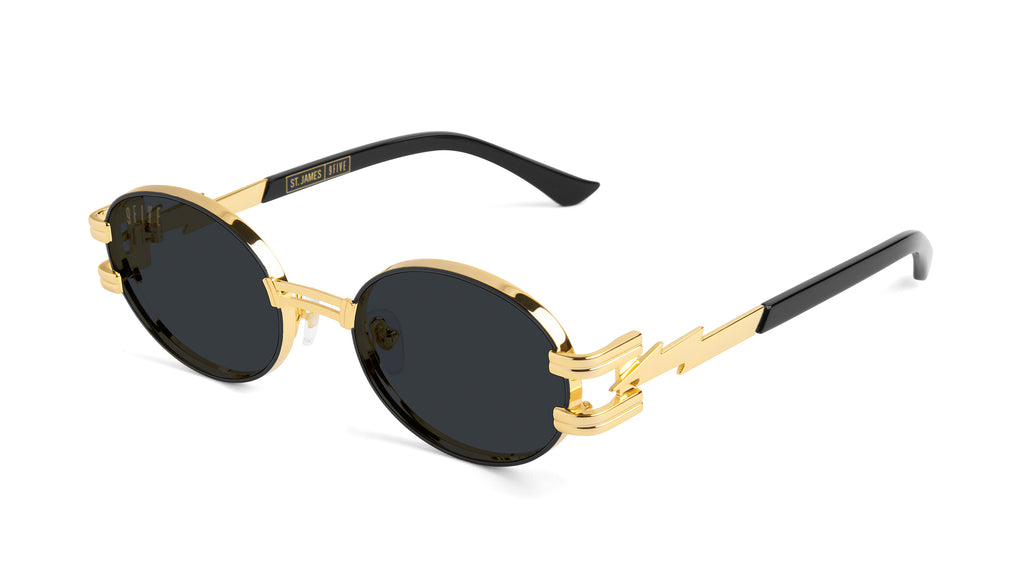 ⚡9FIVE St. James Bolt⚡Black & 24k Gold Sunglasses