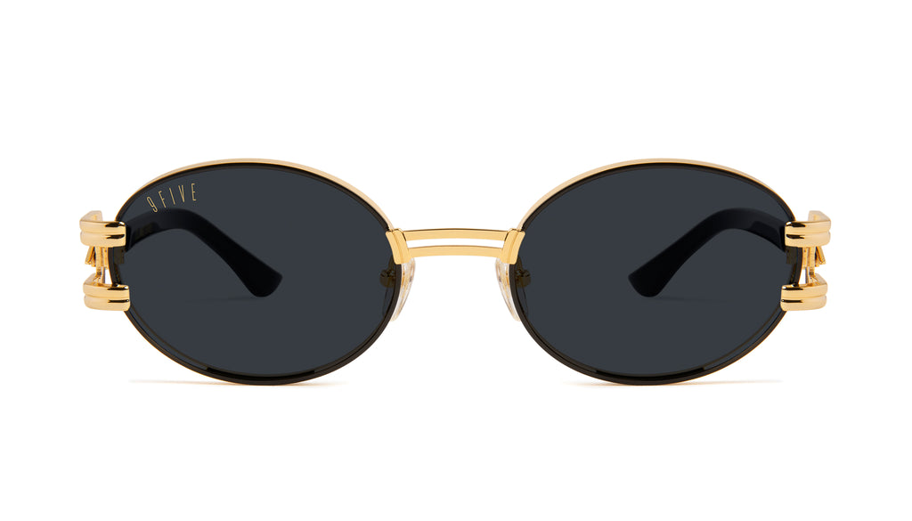 9FIVE St. James Bolt Black & 24k Gold Sunglasses