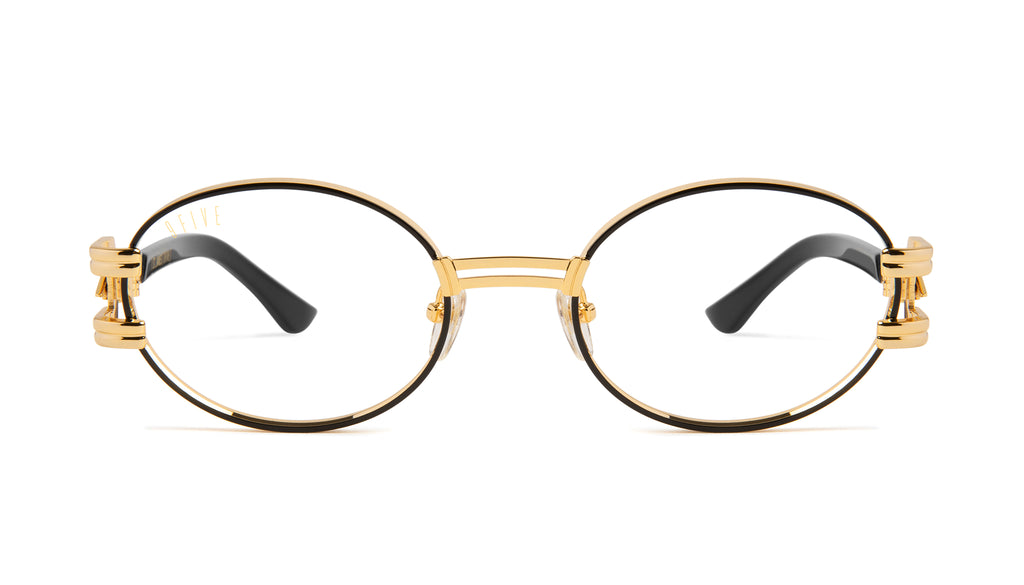 9FIVE St. James Bolt Black & 24k Gold Clear Lens Glasses