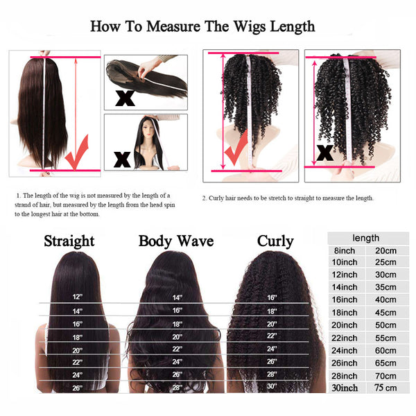 how to measure the wigs length for curly hair