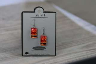 TracyH Earring  Rectangle  Circles Red