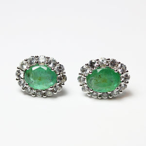 9ct White Gold Emerald and Diamond Stud Earrings