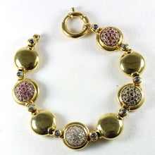 18ct Yellow Gold Ruby, Sapphire and Diamond Bracelet