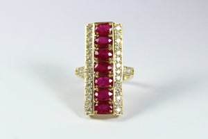 9ct Yellow Gold Ruby and Diamond Cocktail Ring