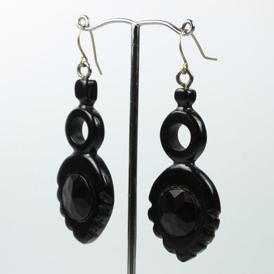 Black Whitby Jet  Carved Victorian Drop Earrings