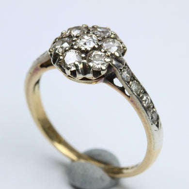 Edwardian Cluster Yellow Gold, Platinum And Old cut Diamond set  Ring