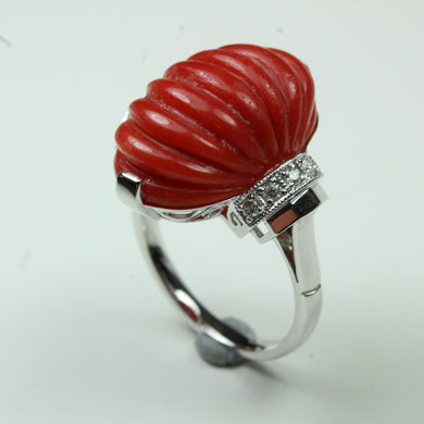 9ct White Gold 13.27ct Ridged Oval Cut Coral and Diamond Cocktail Ring