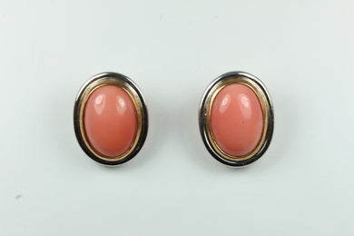 Sterling Silver Oval Natural Coral Cabochon Clip On Earrings with Gold inlay