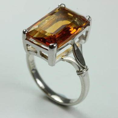 9ct White Gold Emerald-Cut Citrine Ring