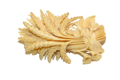 Victorian Ivory Wheat Sheaf Brooch