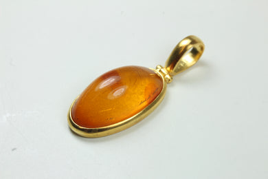Sterling Silver Gold Plate Baltic Long Amber Pendant