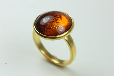 Sterling Silver Gold Plated Baltic Amber Ring
