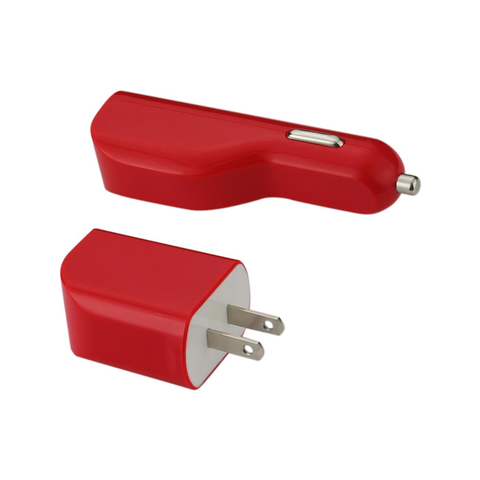 REIKO MICRO 1 AMP 3-IN-1 CAR CHARGER WALL ADAPTER WITH USB CABLE IN RED