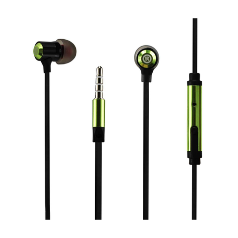 REIKO BASS IN EAR HEADPHONES WITH MIC IN GREEN