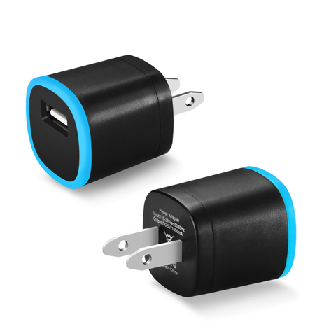 REIKO 1 AMP DUAL COLOR PORTABLE USB TRAVEL ADAPTER CHARGER IN BLUE BLACK