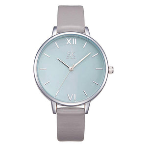 AQUA GREY LEATHER STRAP WATCH