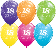18th Birthday Latex Balloons - (6 pack)