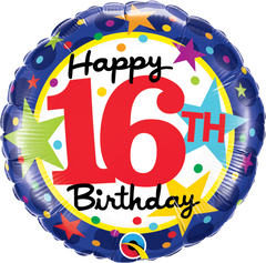 16th Birthday Stars Foil Balloon - 46cm